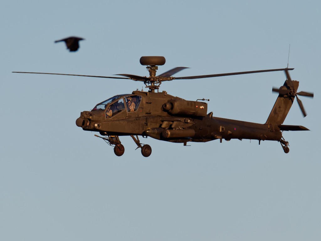 AH64 Apache Attack Helicopter low over Norfolk